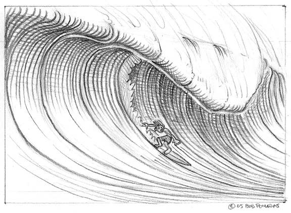 Drawing Lines Surf Movie : Wilbur draw a cartoon wave